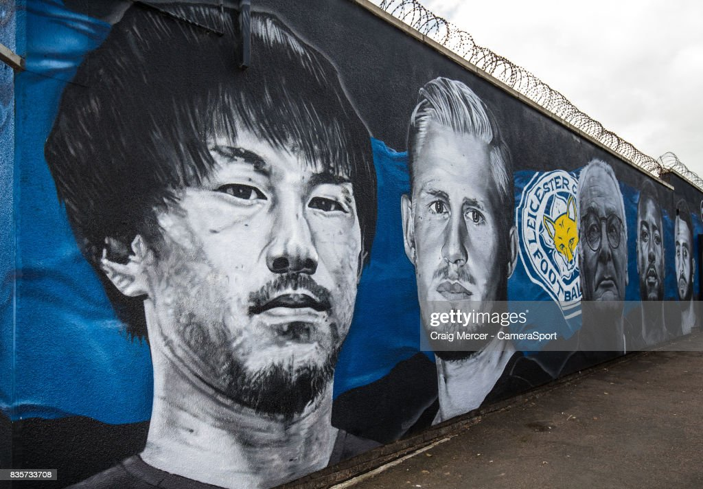 A general view of a street mural showing Leicester City's Shinji Okazaki alongside team mates from the team's Premier League title winning season during the Premier League match between Leicester City and Brighton and Hove Albion at The King Power Stadium on August 19, 2017 in Leicester, England.
