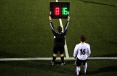 A general view of a substitution during the U17 International Friendly match between Germany and Georgia at ToenniesArena on March 6 2013 in...