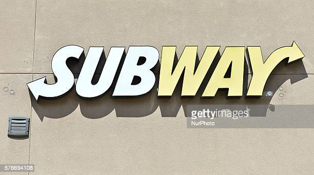 A general view of a SUBWAY logo seen in South Edmonton Common a retail power centre located in Edmonton Alberta The flagship shopping complex is...