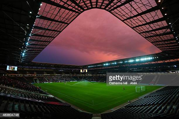 General view of a sunset during the Capital One Cup match between MK Dons and Leyton Orient at Stadium mk on August 11 2015 in Milton Keynes England