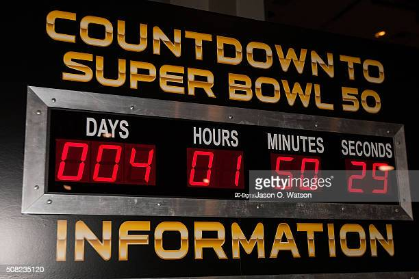General view of a Super Bowl countdown clock during the NFL Experience exhibition before Super Bowl 50 at the Moscone Center on February 3 2016 in...
