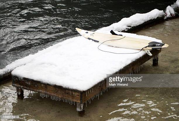 A general view of a surf board at the Eisbach in the English Garden on January 19 2013 in Munich Germany The manmade wave at the Eisbach which has...