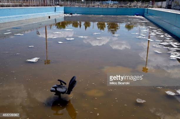 General view of a swimming pool in the former Olympic Village in Athens Greece on July 31 2014 Ten years ago the XXVIII Olympiad was held in Athens...