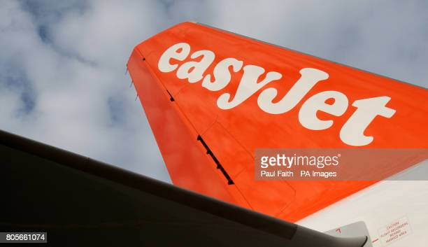 A general view of a tail fin of a new Easyjet Airbus 319 at Belfast International Airport