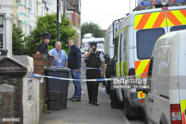 A general view of a taped off property in Belle Vue Road Easton Bristol being searched by police after a 19yearold man was arrested under the...