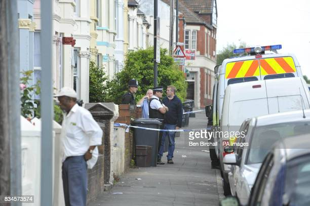 A general view of a tapedoff property in Belle Vue Road Easton Bristol being searched by police after a 19yearold man was arrested under the...