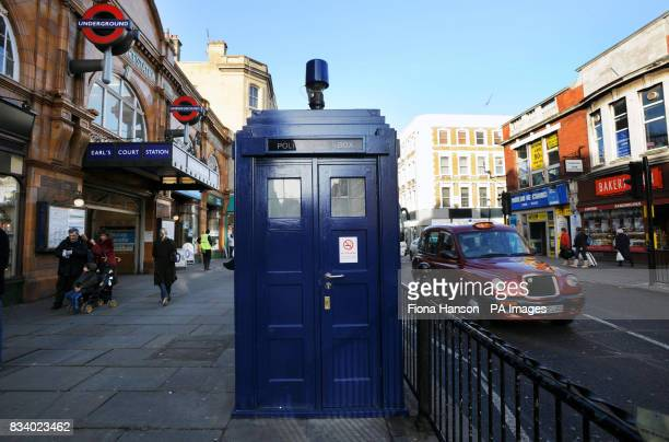 A general view of a 'tardis' style police box outside Earl's Court tube station on Saturday January 5