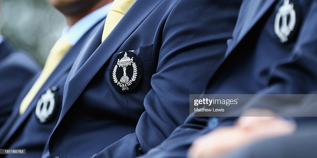 A general view of a Team GB and Ireland badge during the opening ceremony ahead of the 26th PGA Cup at De Vere Slaley Hall on September 19, 2013 in Hexham, England.