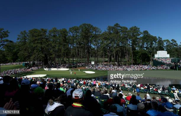 A general view of a the 16th green is seen during the second round of the 2012 Masters Tournament at Augusta National Golf Club on April 6 2012 in...
