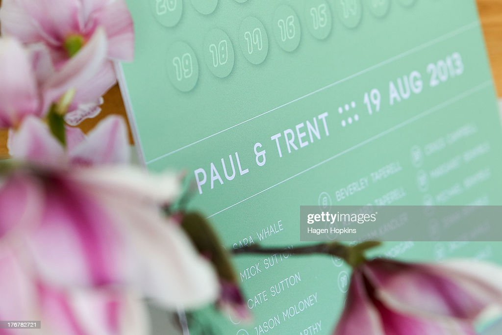 A general view of a the seating plan sign prior to Paul McCarthy and Trent Kandler's wedding reception at Martin Bosley's on August 19, 2013 in Wellington, New Zealand. Australian gay couple Paul McCarthy and Trent Kandler were flown to Wellington by Tourism New Zealand in a promotion to highlight to Australians that same-sex marriage is legal in New Zealand.
