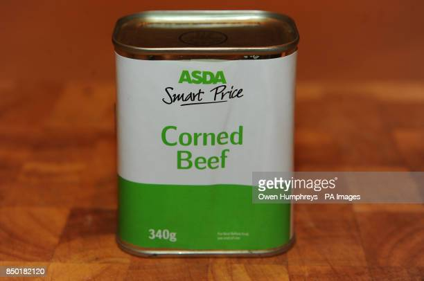 General view of a tin of ASDA Smart Price Corned Beef after the company revealed that it is recalling all corned beef from its budget range after...