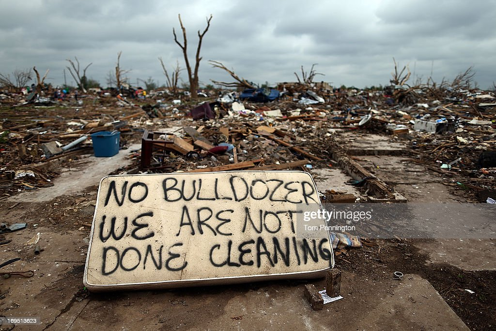 A general view of a tornado ravaged neighborhood ahead of a U.S. President Barack Obama's visit to the area on May 26, 2013 in Moore, Oklahoma. The tornado of EF5 strength and two miles wide touched down May 20 killing at least 24 people and leaving behind extensive damage to homes and businesses. U.S. President Barack Obama promised federal aid to supplement state and local recovery efforts.