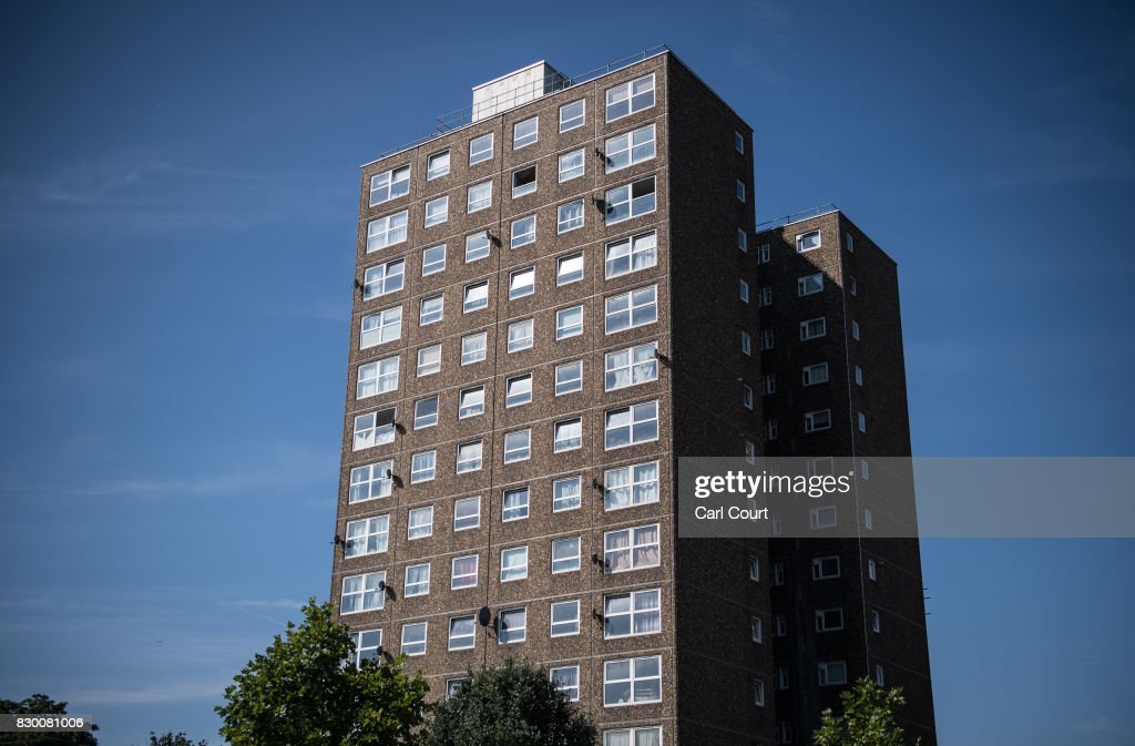 A general view of a tower block on the Ledbury Estate on August 11, 2017 in London, England. Hundreds of residents of the estate are to be evacuated from four tower blocks over safety fears after a survey, ordered after the Grenfell Tower fire, found cracks in the walls leaving it vulnerable to collapse in the event of a gas explosion.