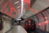 A general view of a train at an Underground station on February 14 2012 in London England London's underground rail system commonly called the tube...