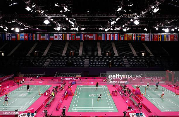 A general view of a training session during Badminton Training at Wembley Arena on July 25 2012 in London England