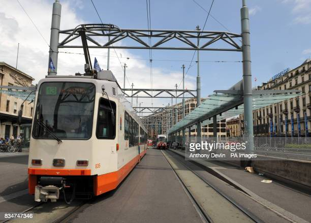 General view of a tram stop outside the main train station the Cornavin in Geneva Switzerland