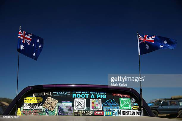 A general view of a ute is seen parked in the camp ground on the first day of the 2014 Deni Ute Muster at the Play on the Plains Festival ground on...