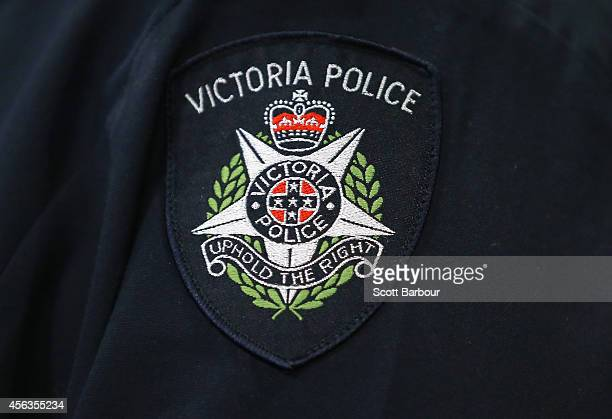 A general view of a Victoria Police badge during a press conference about the terrorism raids that took place in Melbourne this morning at Victoria...