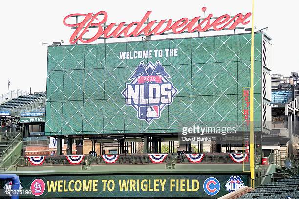 A general view of a video board in right field prior to game three of the National League Division Series between the Chicago Cubs and the St Louis...