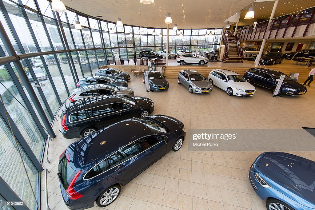 A general view of a Volvo car showroom on January 3 2015 in The Hague The Netherlands BOVAG The Dutch association of car dealers expects that in the...
