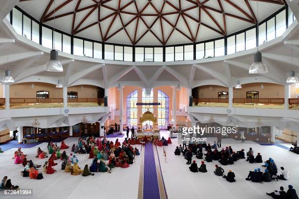 A general view of a wedding ceremony inside the Sri Guru Singh Sabha Sikh temple in Southall on April 22 2017 in London England The temple in...