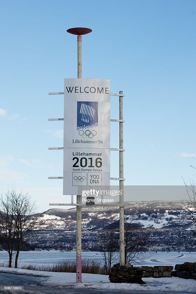 A general view of a welcome sign prior to the 2016 Youth Olympic Games on February 12, 2016 in Lillehammer, Norway.