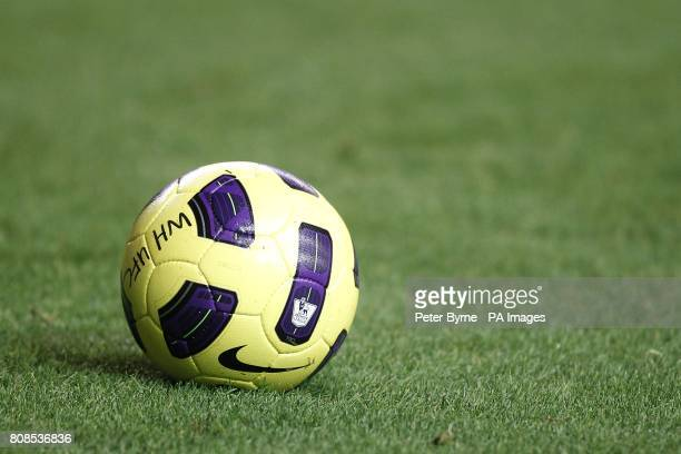 General view of a West Ham United matchball on the pitch at Anfield