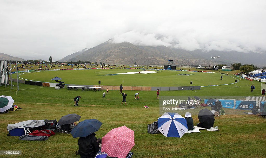 A general view of a wet Queenstown Events Centre prior to game three of the One Day International Series between New Zealand and the West Indies at...