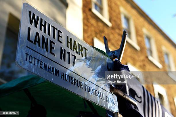 A general view of a White Hart Lane sign outside the stadium before the Barclays Premier League match between Tottenham Hotspur and Crystal Palace at...