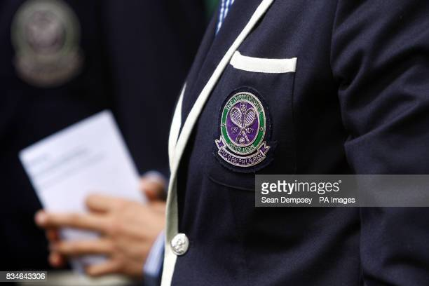 A general view of a Wimbledon badge on a Line Judge's jacket