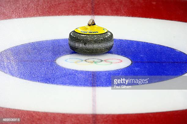 A general view of aa curling stone during Curling Women's Round Robin on day eight of the Sochi 2014 Winter Olympics at Ice Cube Curling Center on...