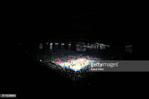 A general view of Abdi Ipekc Arena during the 2016/2017 Turkish Airlines EuroLeague Playoffs leg 4 game between Anadolu Efes Istanbul v Olympiacos...