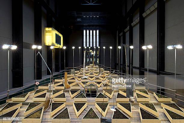 A general view of Abraham Cruzvillegas's latest installation 'Empty Lot' displayed in the turbine room at Tate Modern on November 18 2015 in London...