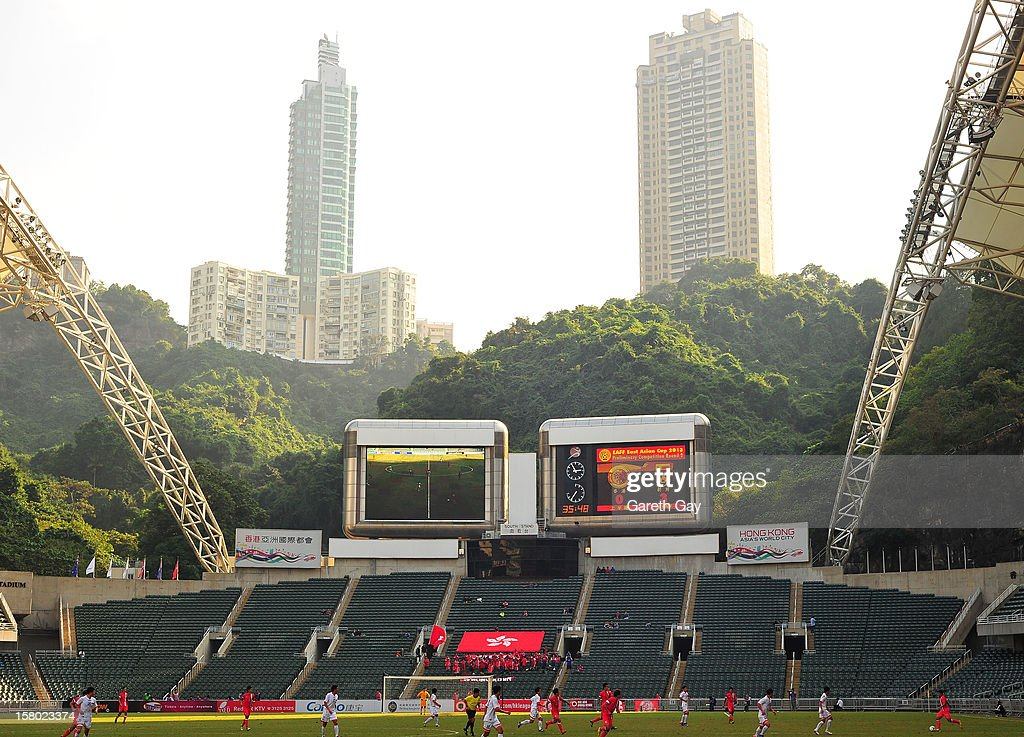 A general view of action and the stadium during the EAFF East Asian Cup 2013 Qualifying match between Hong Kong and the DPR Korea at Hong Kong Stadium on December 9, 2012 in So Kon Po, Hong Kong.