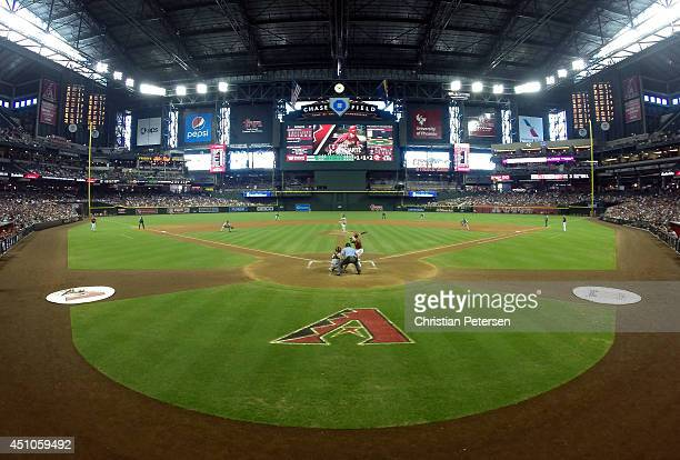 General view of action as Ender Inciarte of the Arizona Diamondbacks bats against the San Francisco Giants during the MLB game at Chase Field on June...