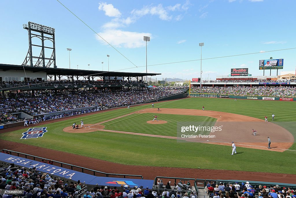 General view of action as relief pitcher Will Harris of the Arizona Diamondbacks pitches against the Chicago Cubs during the spring training game at...