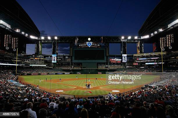 General view of action as starting pitcher Andrew Cashner of the San Diego Padres pitches to Ender Inciarte of the Arizona Diamondbacks during the...