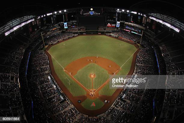 General view of action as starting pitcher Archie Bradley of the Arizona Diamondbacks pitches against the Los Angeles Dodgers during the fourth...