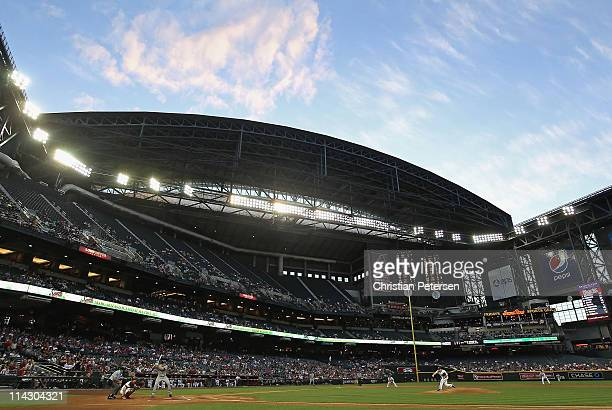 General view of action as starting pitcher Daniel Hudson of the Arizona Diamondbacks pitches against the San Diego Padres during the Major League...