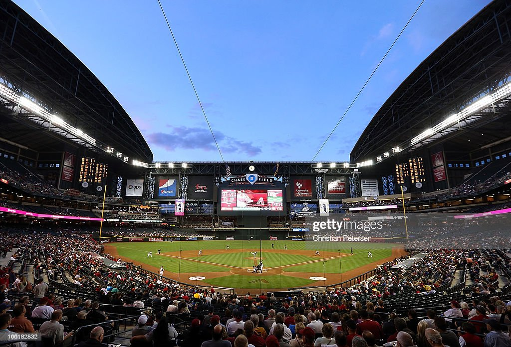 General view of action as starting pitcher James McDonald of the Pittsburgh Pirates pitches against the Arizona Diamondbacks during the MLB game at...