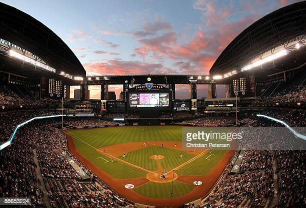 General view of action as starting pitcher Max Scherzer of the Arizona Diamondbacks pitches to Matt Harrison of the Texas Rangers during the major...