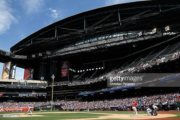 General view of action as starting pitcher Zack Greinke of the Los Angeles Dodgers pitches against AJ Pollock of the Arizona Diamondbacks during the...