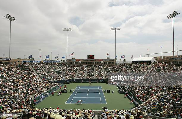 General view of action between Daniela Hantuchova of Slovakia and Kim Clijsters of Belgium in the JPMorgan Chase Open finals match at Home Depot...