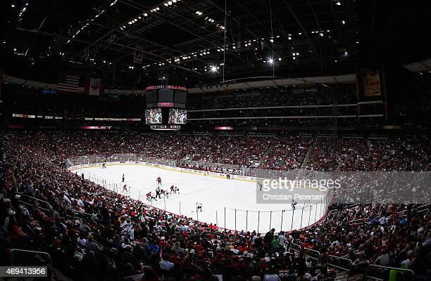 General view of action between the Arizona Coyotes and the Anaheim Ducks during the NHL game at Gila River Arena on April 11 2015 in Glendale Arizona...