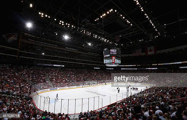 General view of action between the Arizona Coyotes and the Winnipeg Jets during the NHL game at Gila River Arena on October 9 2014 in Glendale...