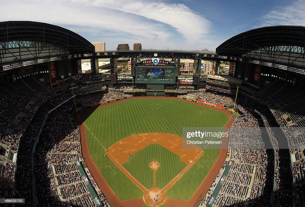 General view of action between the Arizona Diamondbacks and the Los Angeles Dodgers during the MLB game at Chase Field on April 12 2015 in Phoenix...