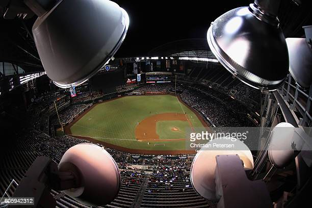 General view of action between the Arizona Diamondbacks and the Los Angeles Dodgers during the fourth inning of the MLB game at Chase Field on...