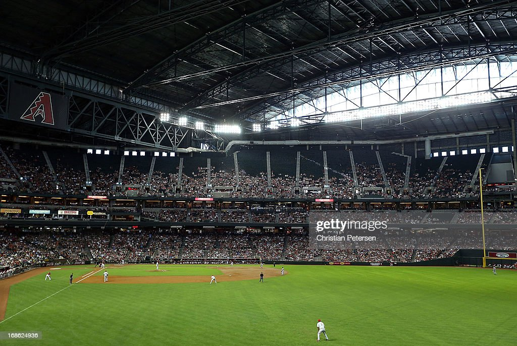 General view of action between the Arizona Diamondbacks and the Philadelphia Phillies during the MLB game at Chase Field on May 12, 2013 in Phoenix, Arizona.