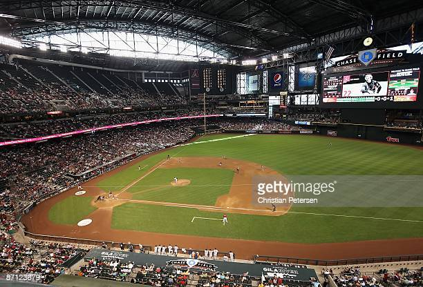 General view of action between the Arizona Diamondbacks and the Washington Nationals during the major league baseball game at Chase Field on May 10...