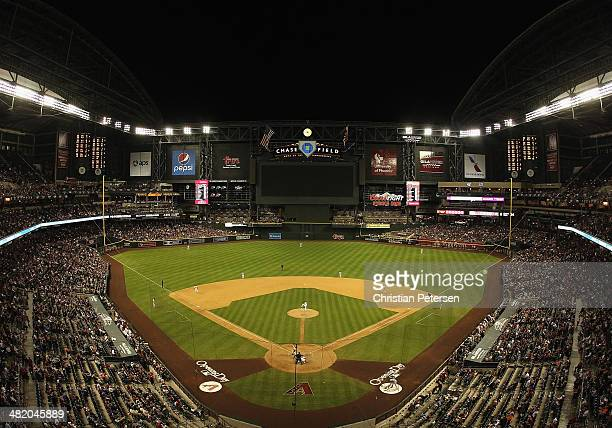 General view of action between the Arizona Diamondbacks and the San Francisco Giants during the Opening Day MLB game at Chase Field on March 31 2014...